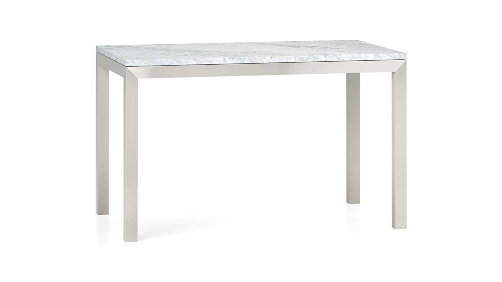 Enlarge product image size Reduce product image size : marble top stainless steel base parsons dining tables from crateandbarrel.com size 1008 x 567 jpeg 14kB