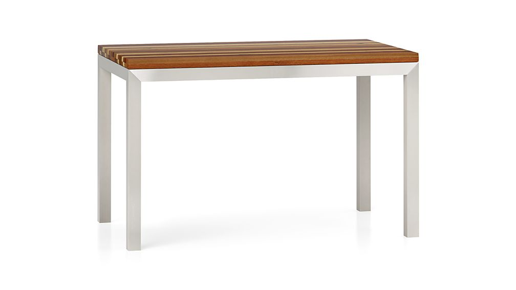 Reclaimed Wood Top Stainless Steel Base 48x28 Parsons High Dining Table In D