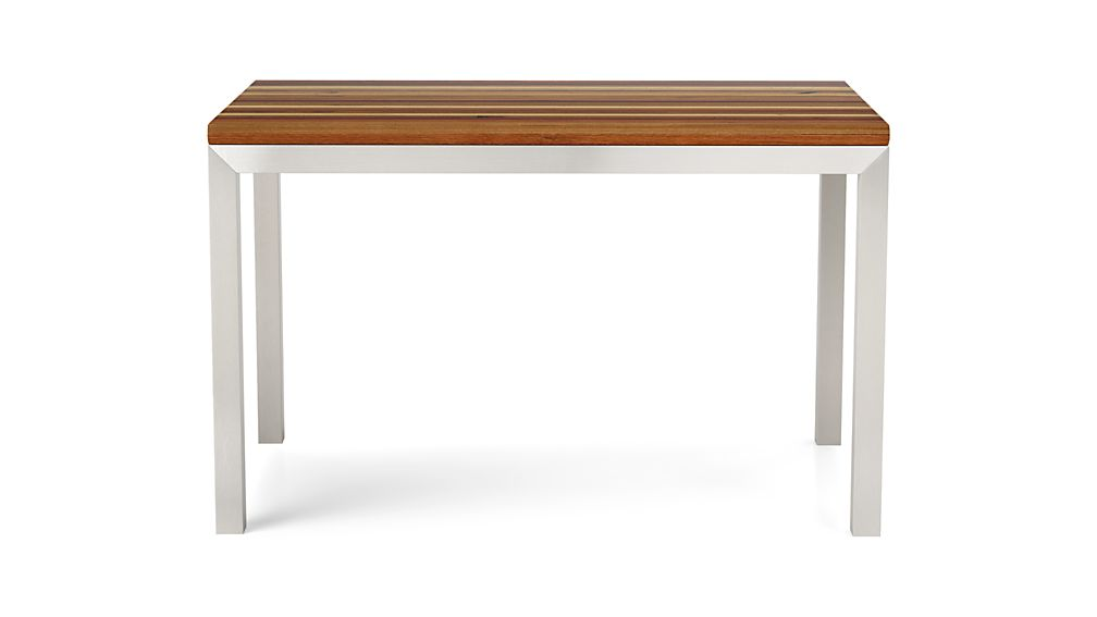 Reclaimed Wood Top/ Stainless Steel Base 48x28 Parsons High Dining Table