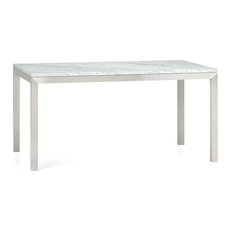 Start with a great base. Top it off with an eye-catching top. Voila—the perfect table. Stainless-steel frame with a contemporary matte finish supports with clean simple lines. Gorgeous polished Italian Carrara marble top displays the unique markings and color variations of pure, unfinished stone. Seats six.<br /><br /><NEWTAG/><ul><li>Stainless-steel base with matte finish</li><li>Clear powdercoat finish on base</li><li>Polished Italian Carrara marble top</li><li>Seats six</li><li>Wipe spills immediately to prevent staining</li><li>Made in China</li></ul>