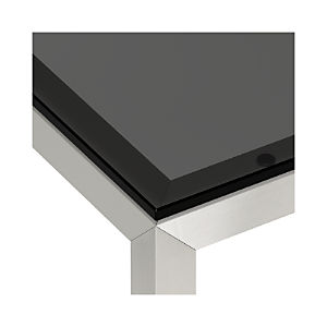 Grey Glass Top/ Stainless Steel Base Parsons Dining Tables