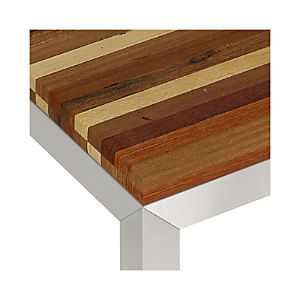 Reclaimed Wood Top/ Stainless Steel Base Parsons Dining Tables