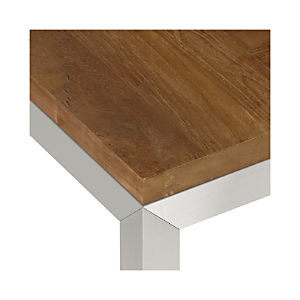 Teak Top/ Stainless Steel Base Parsons Dining Tables
