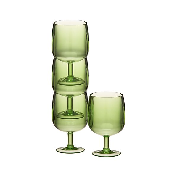 Set of 4 Stacking Green Acrylic Wine Glasses