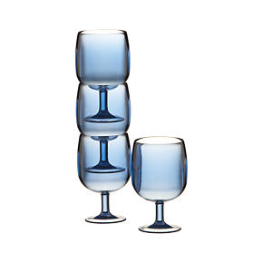 Set of 4 Stacking Blue Acrylic Wine Glasses