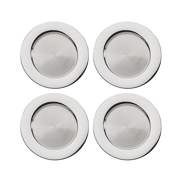 "Stainless Steel 13"" Chargers Set of Four"