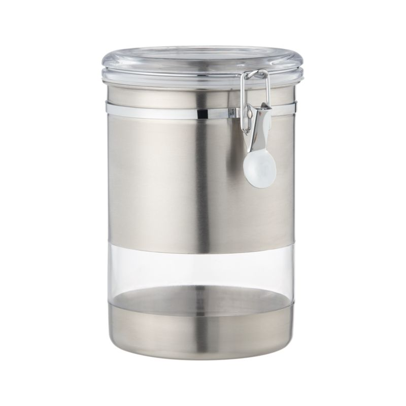 Airtight clip-top storage canister combines the view-through convenience of clear acrylic with the sleek chic of stainless steel.<br /><br /><NEWTAG/><ul><li>Stainless steel exterior</li><li>BPA-free plastic lids</li><li>Rubber gaskets</li><li>Acrylic window</li><li>Freezer-safe</li><li>Hand wash</li><li>Made in China</li></ul>