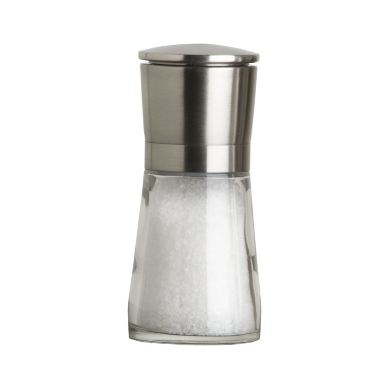 Sleek stainless mill offers unique modern styling and seasoning. Remove stainless cap to reveal adjustable grinding mechanism and dispense salt. Smart design prevents residual spill.<br /><br /><NEWTAG/><ul><li>Comes filled with sea salt</li><li>Made in China</li></ul>