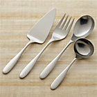 Stanton Satin 4-Piece Serving Set: pastry server, serving fork, serving spoon, sauce ladle.