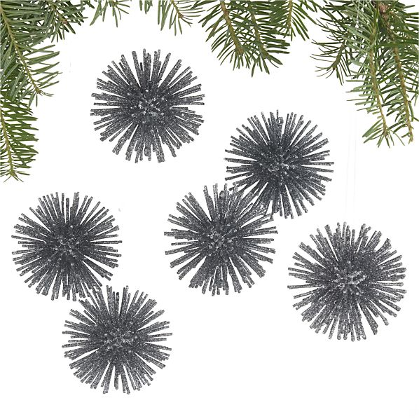 Set of 6 Starburst Charcoal Ornaments