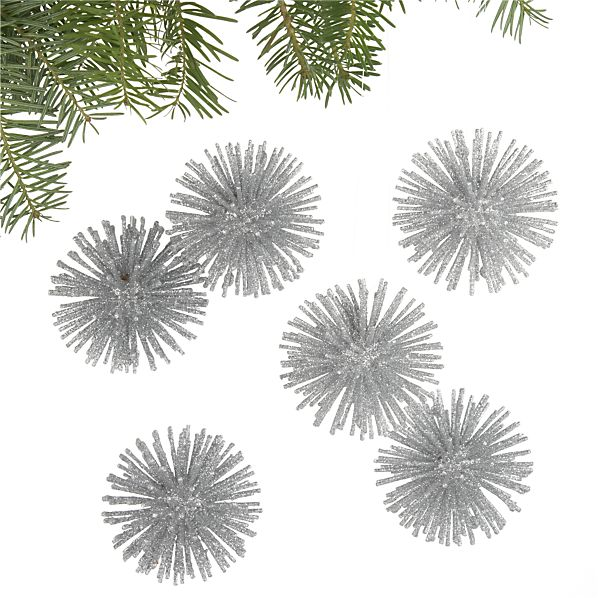 Set of 6 Starburst Silver Ornaments