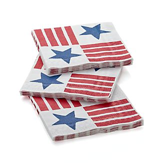 Stars and Stripes Paper Lunch Napkins Set of 20