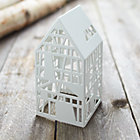 White Steel Laser Cut House.