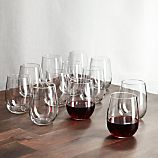 Set of 12 Stemless Red Wine Glasses