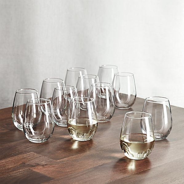 Set of 12 Stemless White Wine Glasses