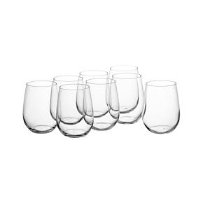 Stemless Wine Glasses Set of Eight