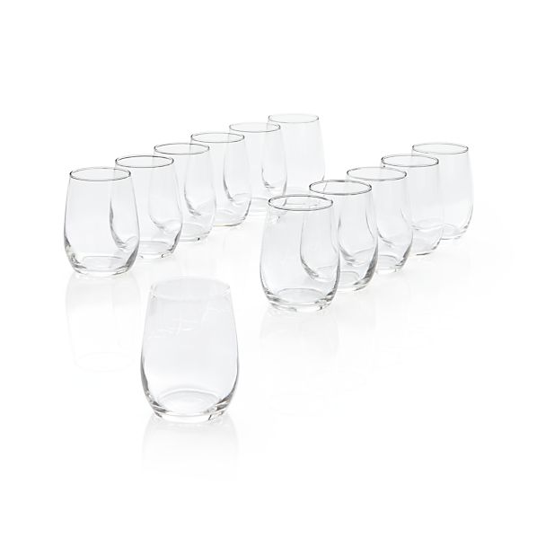 Stemless Wine Taster Glasses Set of 12