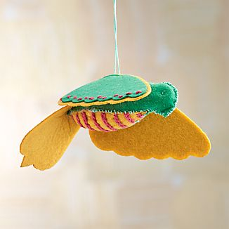 Stitched Green Felt Bird Ornament