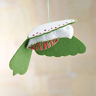 Stitched White Felt Bird Ornament