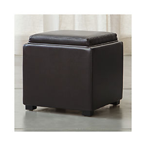 "Stow Chocolate 17"" Leather Storage Ottoman"