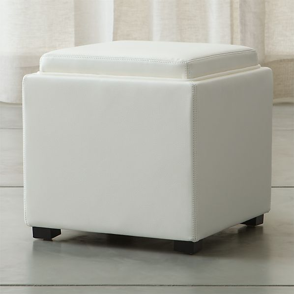 "Stow Blanco 17.5"" Leather Storage Ottoman"