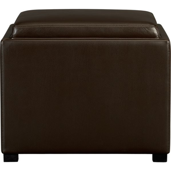 "Stow Chocolate 22"" Leather Storage Ottoman"
