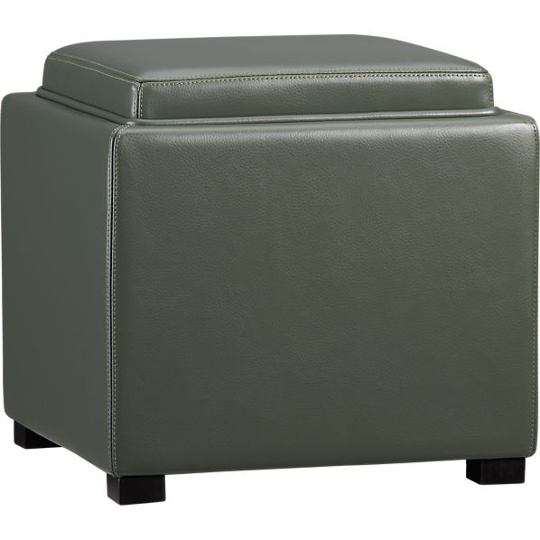 "Stow Fern 17.5"" Leather Storage Ottoman"