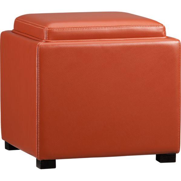 "Stow Persimmon 17.5"" Leather Storage Ottoman"