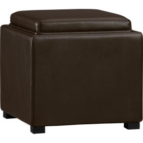 Stow Chocolate 17.5 Leather Storage Ottoman