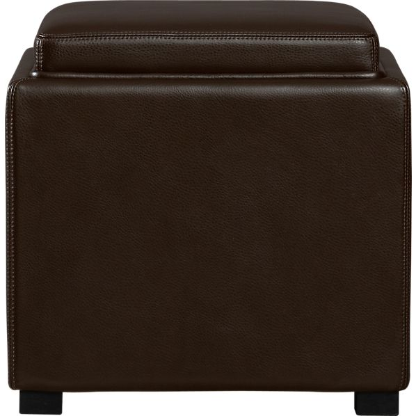 "Stow Chocolate 17.5"" Leather Storage Ottoman"