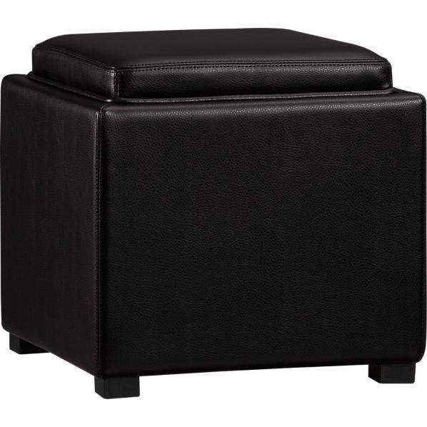 """Stow Onyx 17.5"""" Leather Storage Ottoman"""