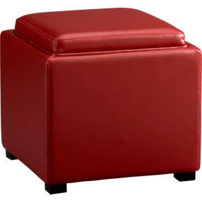 Stow Red 17.5 Leather Storage Ottoman