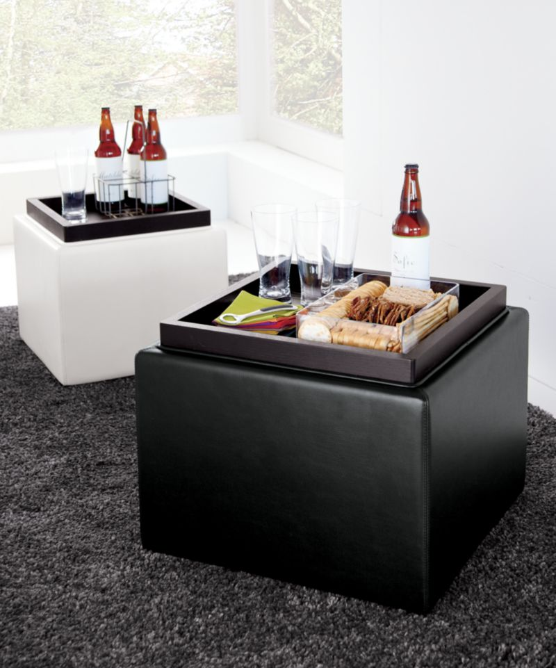 Stow Chocolate 22&quot; Leather Storage Ottoman