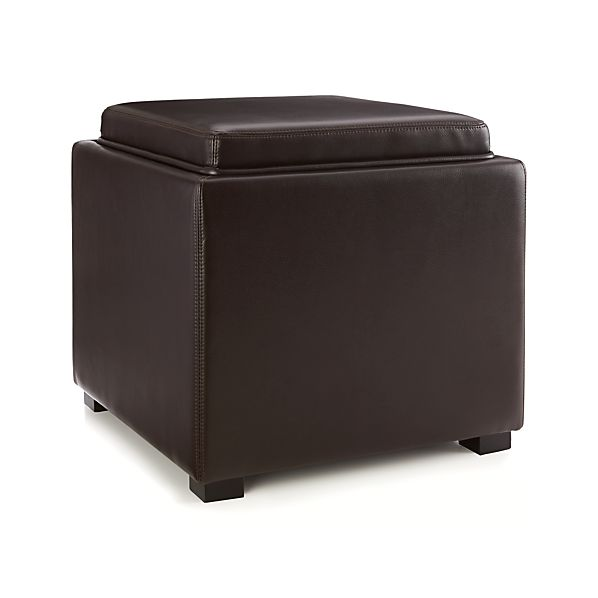 Stow Chocolate 17 Quot Leather Storage Ottoman In Ottomans