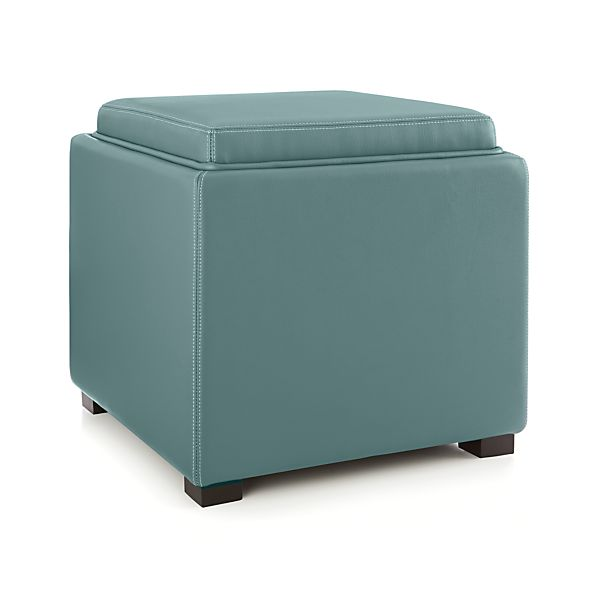 Stow ocean 17 leather storage ottoman in ottomans cubes for Crate and barrel pouf