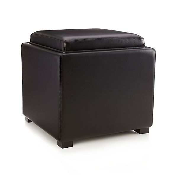 Stow Onyx 17 Leather Storage Ottoman In Ottomans Cubes
