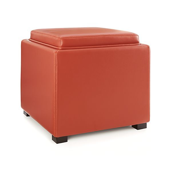 Stow Persimmon 17 Leather Storage Ottoman In Ottomans