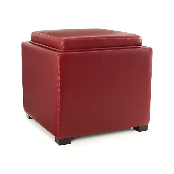 Stow Red 17 Leather Storage Ottoman In Ottomans Cubes