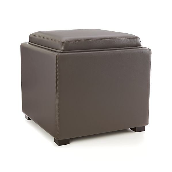 Stow Smoke 17 Leather Storage Ottoman In Ottomans Cubes