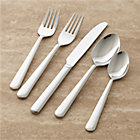 Strand 50-Piece Flatware Set: eight 5-piece place settings (salad fork, dinner fork, knife, soup spoon and teaspoon), eight additional teaspoons, serving spoon and serving fork.