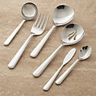 Strand 6-Piece Serving Set: serving spoon, serving fork, butter knife, gravy ladle, pierced spoon, sugar spoon.