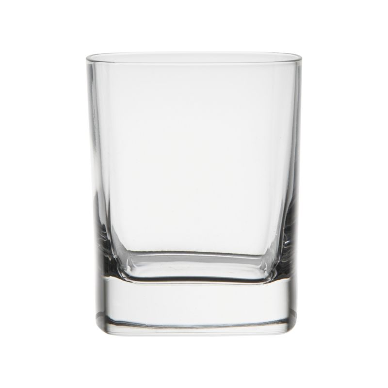 Cool drinkware just around the corner. Modern old fashioned glass squares off with slightly rounded angles for easy sipping. Thick, substantial shams highlight the geometric shape.