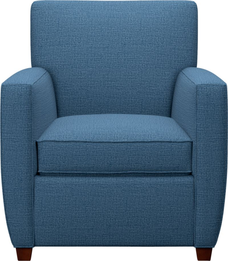 Enjoy a good read in a modern chair, cushioned for comfort. Streeter fits in anywhere—though we especially like this comfortable head-turner in the media room.<br /><br />After you place your order, we will send a fabric swatch via next day air for your final approval. We will contact you to verify both your receipt and approval of the fabric swatch before finalizing your order.<br /><br /><NEWTAG/><ul><li>Eco-friendly construction</li><li>Certified sustainable kiln-dried hardwood frame</li><li>Seat cushion is multilayer soy- or plant-based polyfoam wrapped in fiber-down blend and encased in downproof ticking</li><li>Tight back is filled with multilayer soy- or plant-based polyfoam with fiber</li><li>Synthetic webbing suspension</li><li>Hardwood legs in cognac finish</li><li>Benchmade</li><li>See additional frame options below</li></ul>
