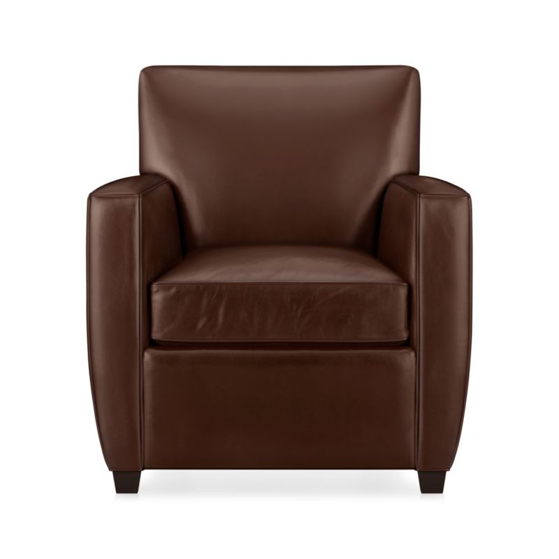 Enjoy a good read in a luxurious modern leather chair, cushioned for comfort. Top-grain, aniline-dyed leather is finished with self-welting.<br /><br />After you place your order, we will send a leather swatch via next day air for your final approval. We will contact you to verify both your receipt and approval of the leather swatch before finalizing your order.<br /><br /><NEWTAG/><ul><li>Eco-friendly construction</li><li>Certified sustainable kiln-dried hardwood frame</li><li>Seat cushion is multilayer soy- or plant-based polyfoam wrapped in fiber-down blend and encased in downproof ticking</li><li>Tight back is filled with multilayer soy- or plant-based polyfoam with fiber</li><li>Flexolator spring suspension</li><li>Top-grain, full-aniline-dyed leather with self-welt detail</li><li>Cognac leg finish</li><li>Benchmade</li><li>See additional frame options below</li><li>Made in North Carolina, USA</li></ul>