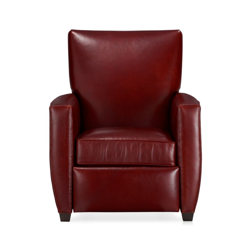 Beneath those sly voluptuous good looks lies the hidden pleasure of the classic recliner. Not only are the lines modern, but the hidden pushback mechanism completes the clean silhouette. Top-grain, aniline-dyed leather is finished with self-welting.<br /><br />After you place your order, we will send a leather swatch via next day air for your final approval. We will contact you to verify both your receipt and approval of the leather swatch before finalizing your order.<br /><br /><NEWTAG/><ul><li>Eco-friendly construction</li><li>Certified sustainable kiln-dried hardwood frame</li><li>Seat cushion is multilayer soy- or plant-based polyfoam wrapped in fiber-down blend and encased in downproof ticking</li><li>Tight back is filled with multilayer soy- or plant-based polyfoam with fiber</li><li>Flexolator spring suspension</li><li>Hidden steel push-back mechanism</li><li>Top-grain, full-aniline-dyed leather with self-welt detail</li><li>Cognac leg finish</li><li>Benchmade</li><li>See additional frame options below</li><li>Made in North Carolina, USA</li></ul>
