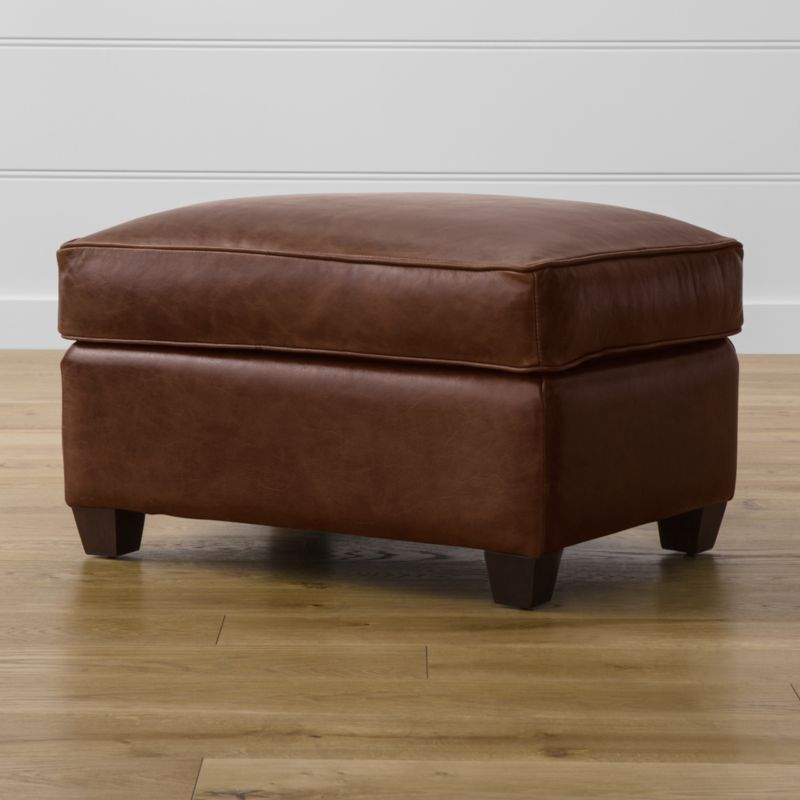 Put your feet up in Streeter style with the companion ottoman, a soft spot for feet or an extra seat. Clean Art Deco lines are upholstered in full-aniline dyed leather with self-welt detailing. <NEWTAG/><ul><li>Frame is benchmade in the USA with certified sustainable hardwood that's kiln-dried to prevent warping</li><li>Multilayer soy-based polyfoam cushion wrapped in fiber-down blend and encased in downproof ticking</li><li>Flexolator spring suspension</li><li>Hardwood legs with hickory brown finish</li><li>Material origin: see swatch</li><li>Made in North Carolina, USA</li></ul>