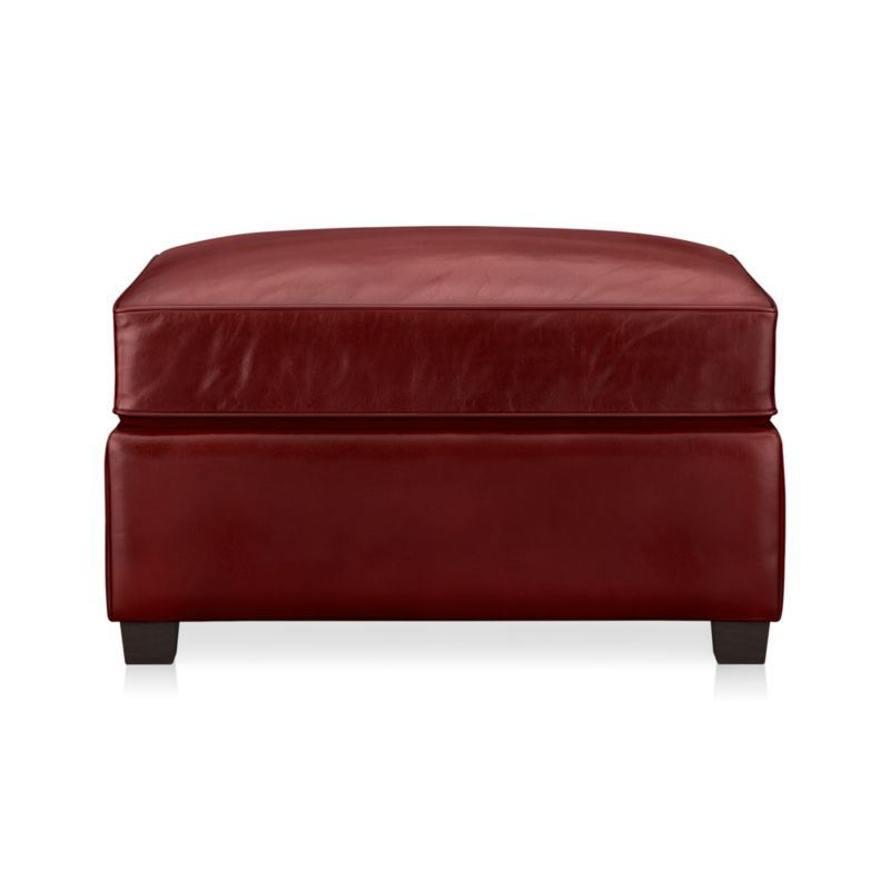 Relax and put your feet up on this luxurious leather ottoman, cushioned for comfort. Top-grain, aniline-dyed leather is finished with self-welting.<br /><br />After you place your order, we will send a leather swatch via next day air for your final approval. We will contact you to verify both your receipt and approval of the leather swatch before finalizing your order.<br /><br /><NEWTAG/><ul><li>Eco-friendly construction</li><li>Certified sustainable kiln-dried hardwood frame</li><li>Cushion is multilayer soy- or plant-based polyfoam wrapped in fiber-down blend and encased in downproof ticking</li><li>Flexolator spring suspension</li><li>Top-grain, full-aniline-dyed leather with self-welt detail&