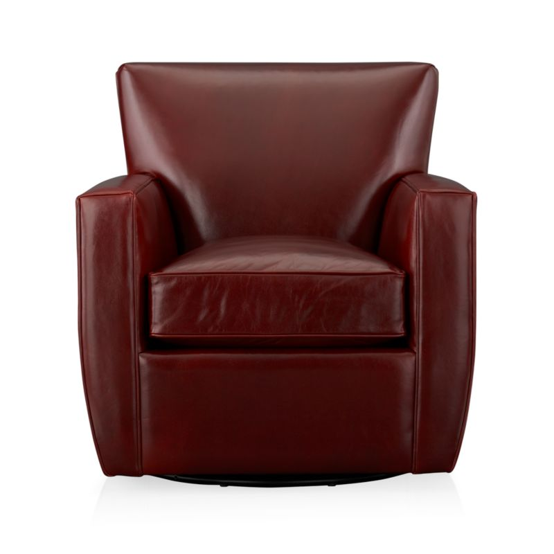 Glide back and forth in this luxurious leather chair, cushioned for comfort. Top-grain, aniline-dyed leather is finished with self-welting.<br /><br />After you place your order, we will send a leather swatch via next day air for your final approval. We will contact you to verify both your receipt and approval of the leather swatch before finalizing your order.<br /><br /><NEWTAG/><ul><li>Eco-friendly construction</li><li>Certified sustainable kiln-dried hardwood frame</li><li>Seat cushion is multilayer soy- or plant-based polyfoam wrapped in fiber-down blend and encased in downproof ticking</li><li>Tight back is filled with multilayer soy- or plant-based polyfoam with fiber</li><li>Flexolator spring suspension</li><li>Swivel glider mechanism</li><li>Top-grain, full-aniline-dyed leather with self-welt detail</li><li>Benchmade</li><li>See additional frame options below</li><li>Made in North Carolina, USA</li></ul>