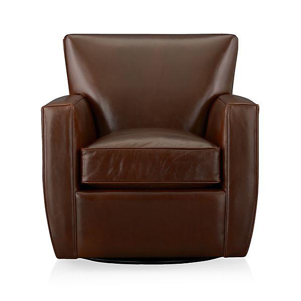 Streeter Leather 360 Swivel Chair Cashew
