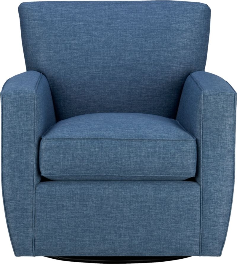 Beneath those sly voluptuous good looks lies the hidden pleasure of the classic swivel chair, with the added ability of a smooth-rocking glider. Not only are the lines modern, but a built-in returm mechanism automatically faces the unoccupied chair forward in a timely fashion. Streeter fits in anywhere—though we especially like this comfortable head-turner in the media room.<br /><br />After you place your order, we will send a fabric swatch via next day air for your final approval. We will contact you to verify both your receipt and approval of the fabric swatch before finalizing your order.<br /><br /><NEWTAG/><ul><li>Eco-friendly construction</li><li>Certified sustainable kiln-dried hardwood frame</li><li>Seat cushion is multilayer soy- or plant-based polyfoam wrapped in fiber-down blend and encased in downproof ticking</li><li>Tight back is filled with multilayer soy- or plant-based polyfoam with fiber</li><li>Synthetic webbing suspension</li><li>Swivel glider mechanism</li><li>Benchmade</li><li>See additional frame options below</li></ul>